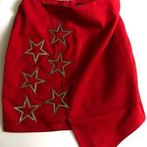 Red A-Line Boohoo Skirt